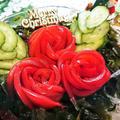 【レシピ動画】クリスマスにおススメ!【トマトのひいらぎと海藻のクリスマスリース★サラダ】