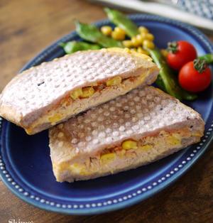 簡単|お弁当|オヤツ|軽食|ホットサンド|美味しい組み合わせ|【ツナコーンチーズのホットサンド】