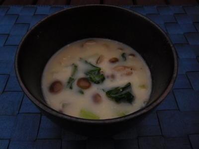 小松菜としめじのミルクスープ