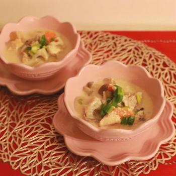 魔法の美腸スープ豚肉とレンコンの豆乳みそスープ~ポロンとキラキライルミ