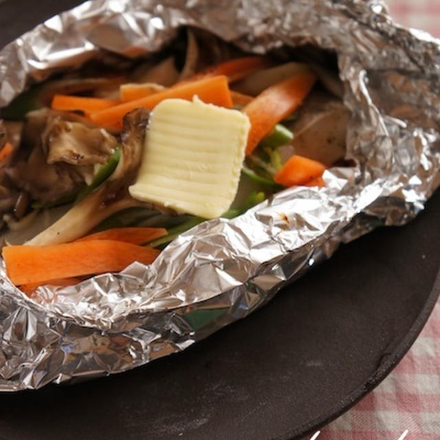たらと野菜のホイル焼き バターポン酢
