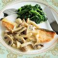 鮭のムニエル・きのこクリームソース-美肌レシピ【ハダレピ】 by モモ@美肌レシピさん