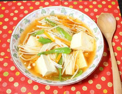 エノキダケとしし唐のヘルシー麻婆豆腐