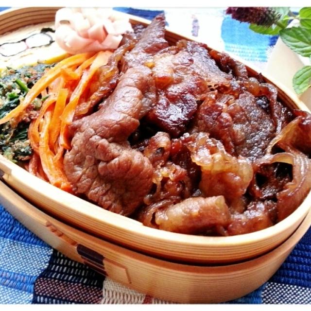 9月愛母弁当月間!本日ラストは肉肉牛肉で三色弁当でした♡(* ̄∇ ̄*)