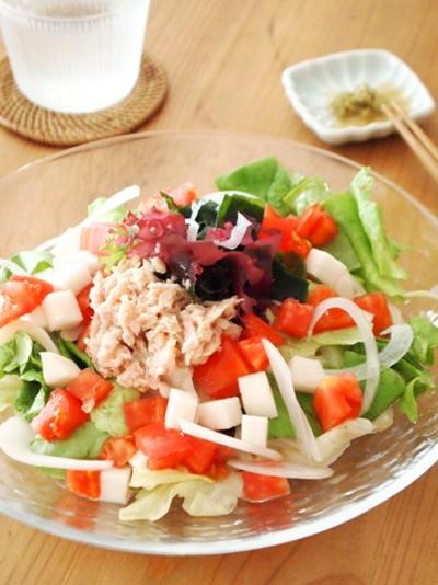柚子胡椒で♪ツナと海藻のサラダうどん