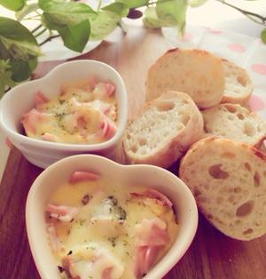 フランスパンで簡単カルボナーラグラタン。お家遊びと外遊び。