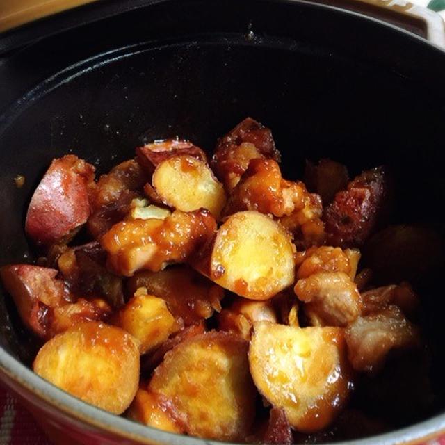STAUBでサツマイモと鶏肉のコチュジャン煮 と くらしのアンテナ と 作ってくれたよ♪