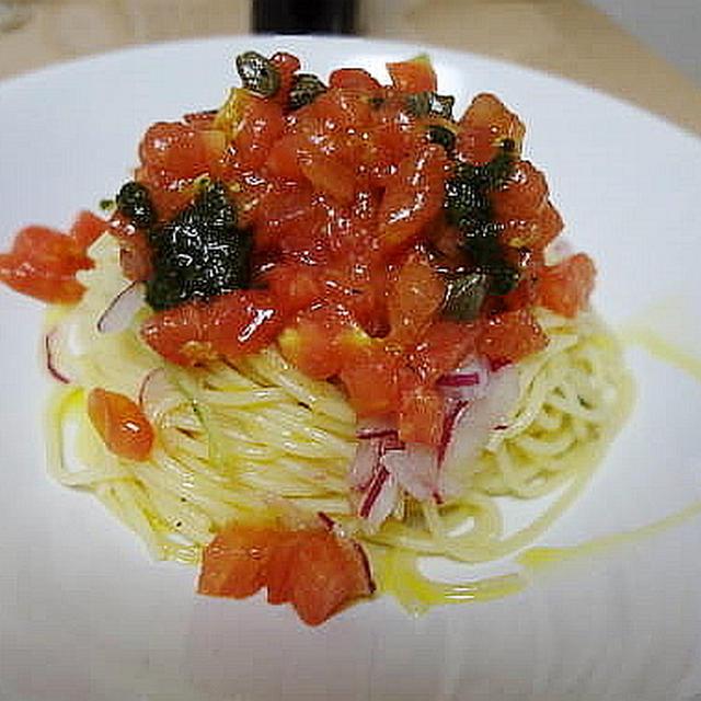 7/13の晩御飯 冷たいトマトのスパゲティ、鯵のカルパッチョ、夏野菜のポルペッティ