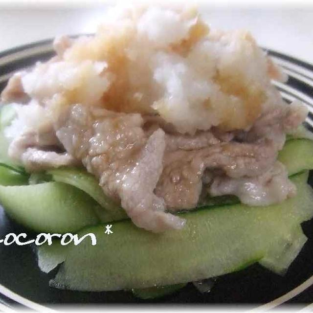 冷しゃぶ&牛蒡揚げ&カレー蕎麦