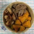 かぼちゃと竹輪とこんにゃくの煮物♪ いかの姿焼き♪ あさりの酒蒸し♪ 雑炊♪ みそ汁♪