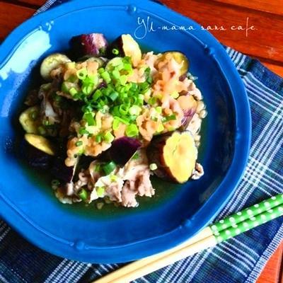 麺つゆと海老天かすで、簡単♪ナスと豚しゃぶの和え物♡