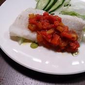 減塩☆鱈のパプリカトマトソース添え