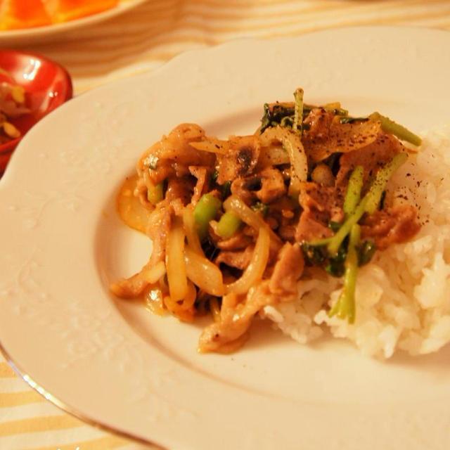 ★豚肉と明日葉の味噌炒め