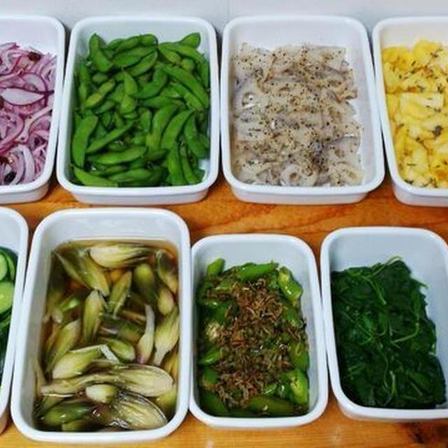 2015/8/16常備菜(みょうがのお浸し、パイナップルのラベンダー&はちみつマリネ、など)