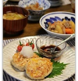 つぶつぶコーンの豆腐ハンバーグ 2パターン