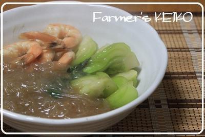 安い春雨を美味しく食べましょう♪ ~レシピは『チンゲンサイとエビと春雨の中華煮込み』です~