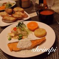 鮭のムニエル〜バジルヨーグルトソース