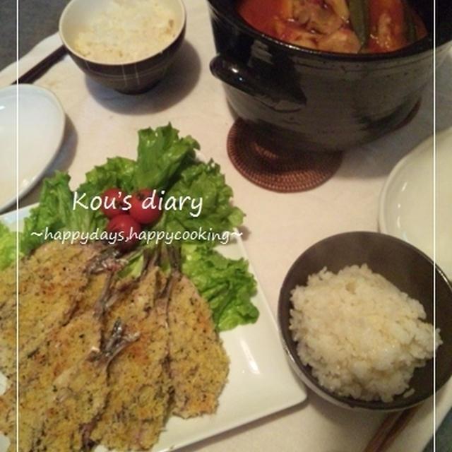 鰯のオーブン焼き&土鍋deトマトチキン煮♪