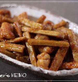 【ごぼうのレシピ】鶏肉とごぼうの甘辛にんにく醤油炒め
