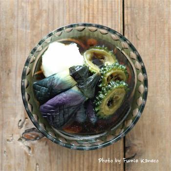 茄子とゴーヤの揚げ浸し