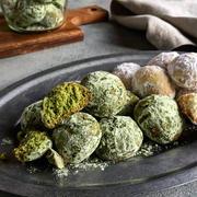 【簡単クッキー】 サクほろ スノーボール(バニラ&抹茶)*卵不使用*
