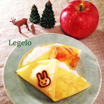 ハチミツみたいなリンゴジャム&爽やかヨーグルトクリームのクレープ