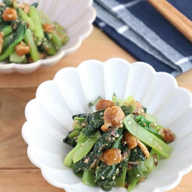 【#ぐんまクッキングアンバサダー】簡単和惣菜◎小松菜となめこの胡麻かつお和え