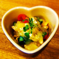 大豆と鶏のササミののっけてジュレレモン&バジルサラダ