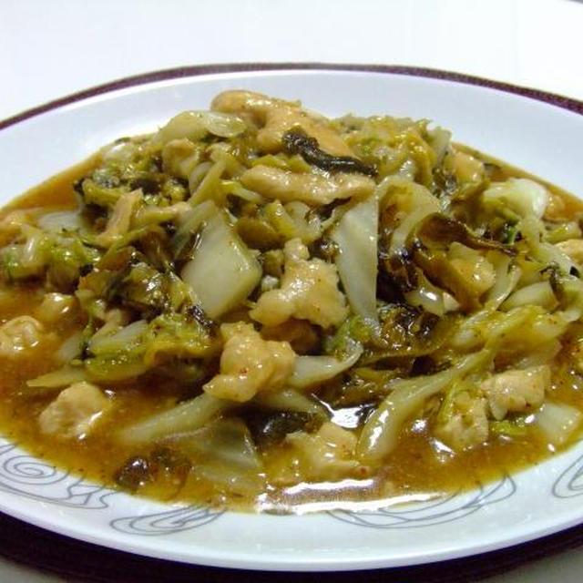 ささみと白菜と辛し高菜の蒸し炒め♪