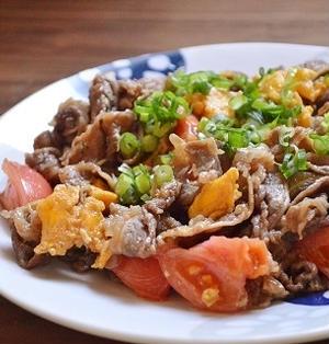 すぐできる!晩ご飯レシピ「牛肉とトマトの醤油だれ炒め」