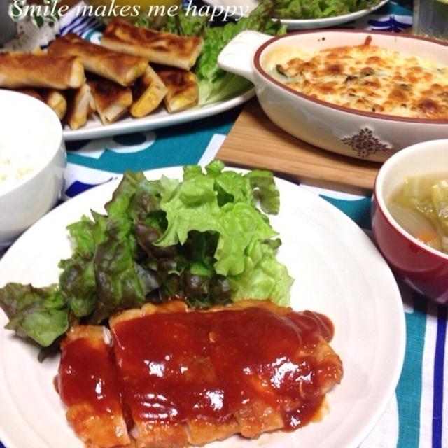 今夜は洋食♫胸肉のコクうまソース/チキンほうれん草グラタン/かぼちゃ春巻き…レシピアップについて