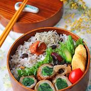 ヘルシー♪小松菜の豚肉巻き照り焼き弁当♪
