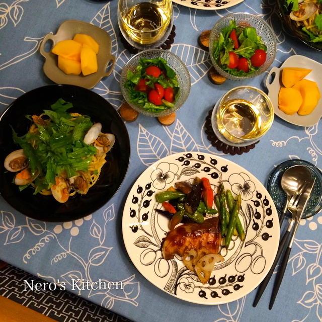 スペアぶりと焼き野菜・アサリと明太子と水菜の和風パスタ♪