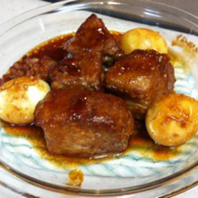 豚バラ肉の照り焼きミルフィーユと、即席味付け玉子
