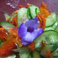 きゅうりと柿のジュレマリネ