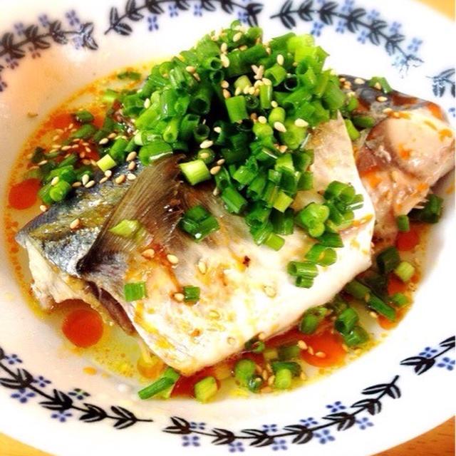 鯖のオイル煮でサバポン。