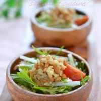 大根と水菜のグレインズ納豆サラダ☆ そして今年の春のお彼岸ぼたもち✿
