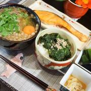 ■簡単な晩ご飯セット【焼き鮭/狸蕎麦/モロヘイヤご飯など。】