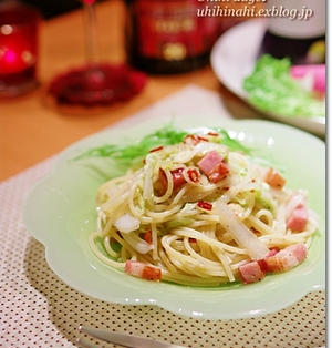 白菜とベーコンのぺペロン風パスタ