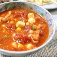 焼けるチーズ入りトマトスープとにんにく混ぜごはんでうちごはん(レシピ付)