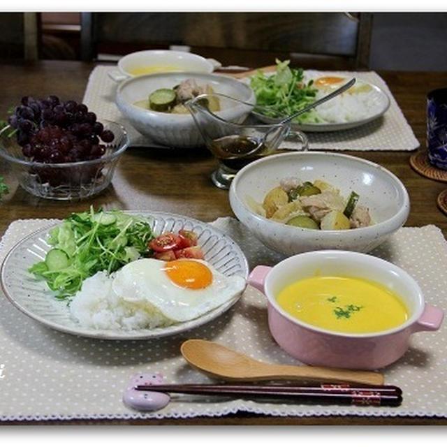 チキンとポテトの白ワイン煮&冷たいかぼちゃのスープ 野菜の苗植え^^