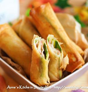 【副菜】ベーコンとキュウリとカマンベールのおつまみ春巻き♡