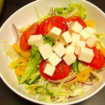 豆腐のサラダ&本日の朝食