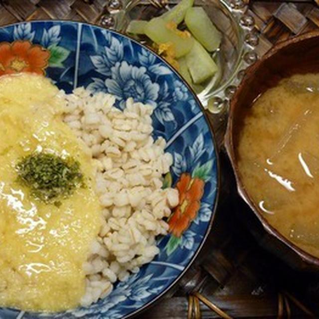 押し麦100%で、とことん麦とろご飯!☆冬瓜のお味噌汁とピクルス添え