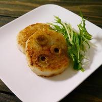 牡蠣だし醤油でオリーブの実入り大根ステーキ