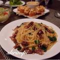 ホタルイカと小松菜のペペロンチーノ