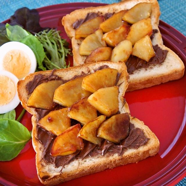 簡単☆カフェ風な朝食に♪ヌテラ&ハニーアップルトースト