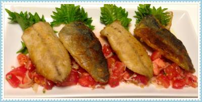 鯵のムニエルを香味トマトソースで、、外をカリッとの裏技