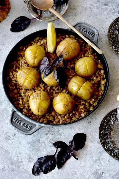 夏レシピ♪フレッシュバジルの香りと、だしで楽しむ豆と野菜の料理