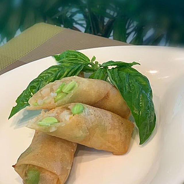 手軽に夕食の一品、海老と枝豆の春巻き~生徒さん達のティータイムスィーツはひんやりマンゴプリン